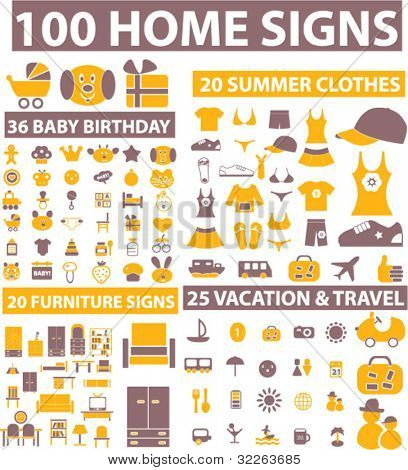 100 home icons, signs, vector illustrations