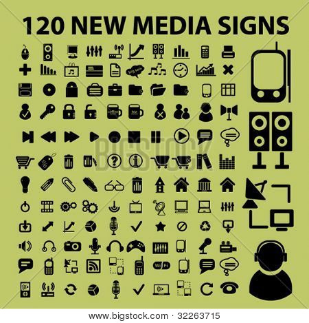 120 new media icons, signs, vector
