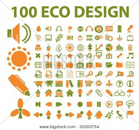 100 eco design icons, vector