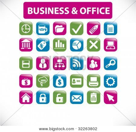 business & office icons, signs, vector