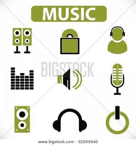 music icons, signs, vector illustrations