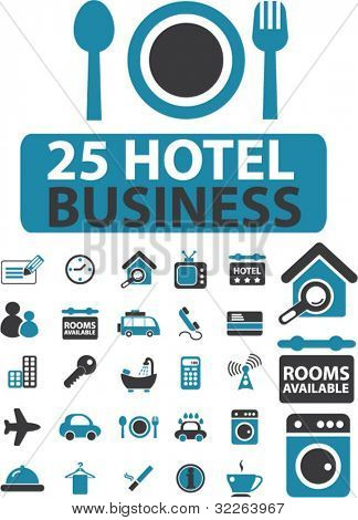 25 hotel business icons, signs, vector illustrations