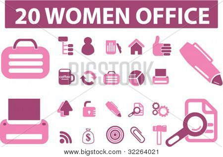 20 women office icons, signs, vector
