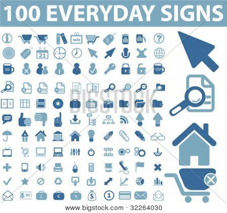 100 everyday icons, signs, vector illustration