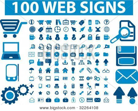 100 web signs, icons, vector