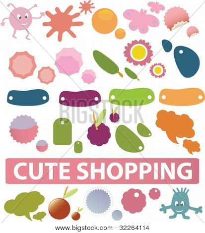 cute shopping stickers, icons, signs, vector illustrations