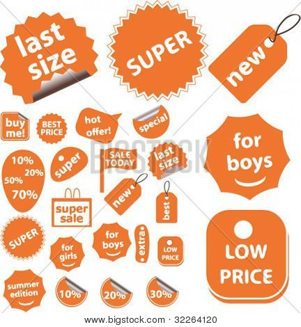 orange cute sales stickers, icons, signs, vector illustrations