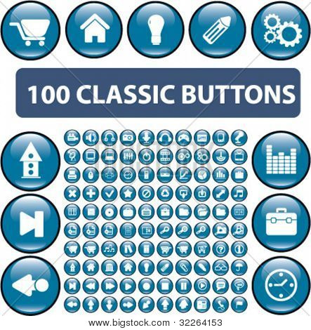 100 classic glossy cirlce blue buttons, icons, signs, vector illustrations