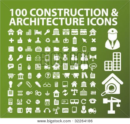 100 construction icons, signs, vector illustrations