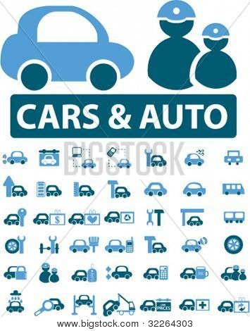 cars & auto icons, signs, vector illustrations
