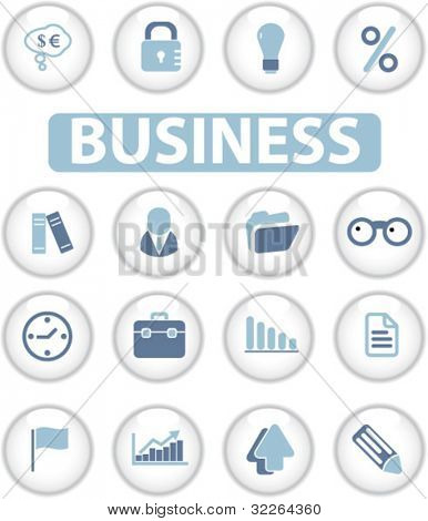business glossy circle buttons, icons, signs, vector illustrations