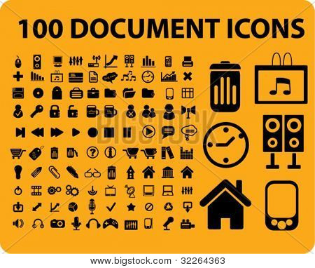 100 document icons, signs, vector illustrations
