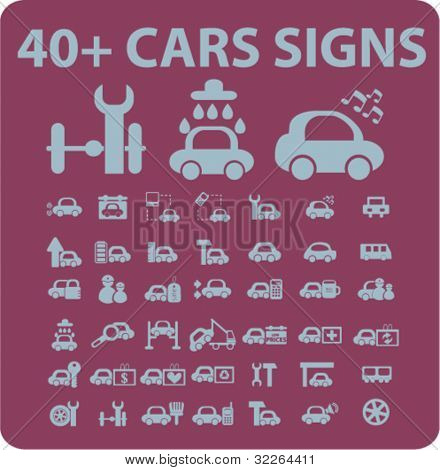 40 cars icons, signs, vector illustrations
