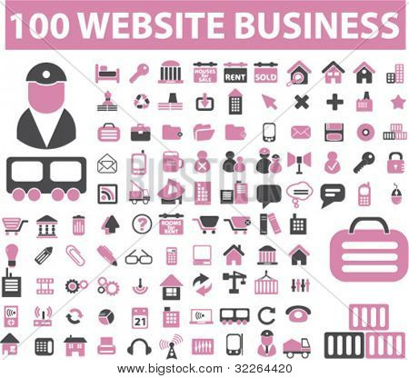 100 web business icons, signs, vector illustrations