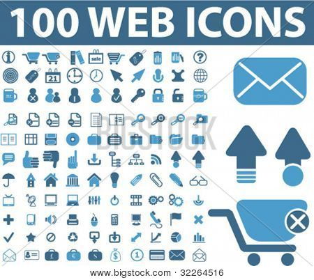 100 web icons, vector