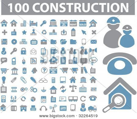 100 construction icons, signs, illustration, images, vector