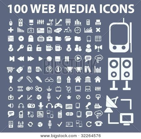 100 web media icons, signs, vector illustrations