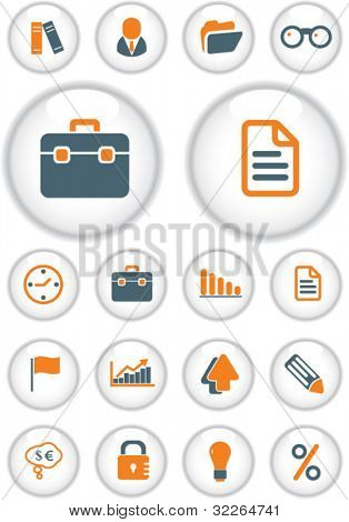 business buttons, icons, signs, vector illustrations