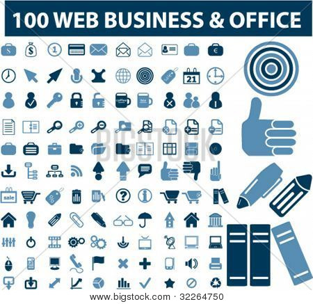 100 web business & office icons, signs, vector illustrations