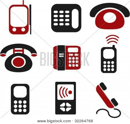 phone icons, signs, vector illustrations