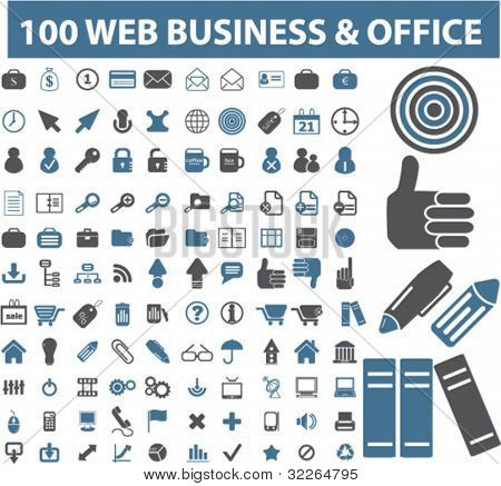 100 Web-Business & Office-Symbole, Zeichen, Vektor Illustrationen