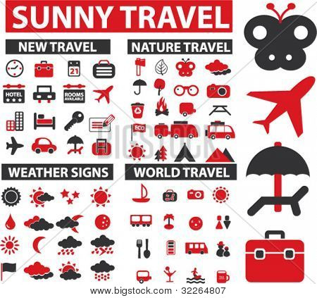 100 travel icons, signs, vector illustrations