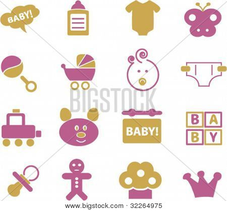kid & children & baby icons, signs, vector illustrations set