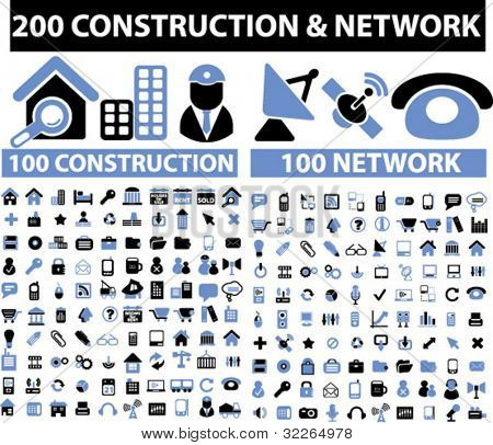 200 construction & network icons, signs, vector illustrations set