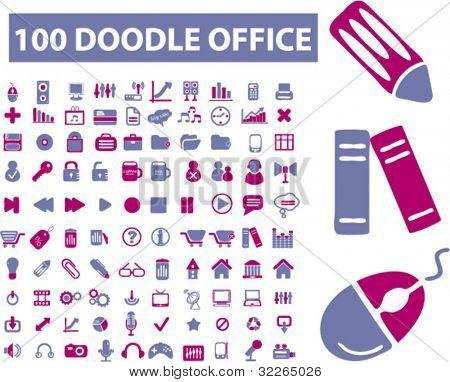 100 doodle oficina iconos set, vector