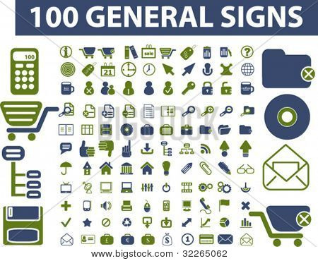 100 signos generales, los iconos, vector illustration