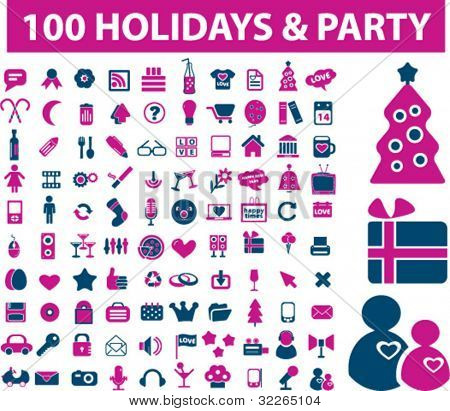 100 holidays & party icons, signs, vector illustration set