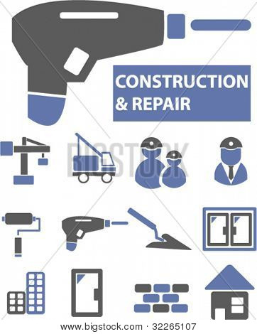 construction & repair icons, signs, vector illustration set