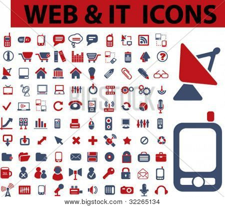 web & it icons, signs, vector illustrations
