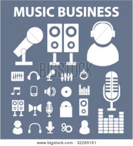 music business icons set, vector