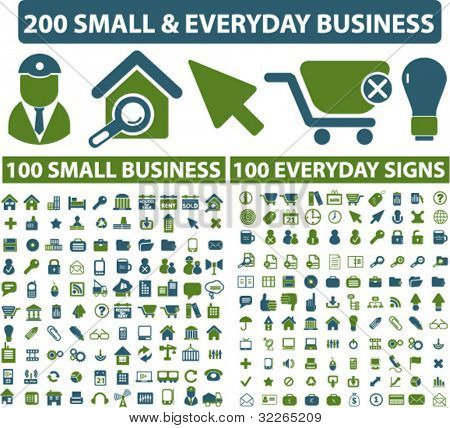 200 small everyday business icons, signs, vector illustrations set