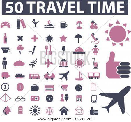 tiempo de viaje 50 iconos, signos, ilustraciones de vector