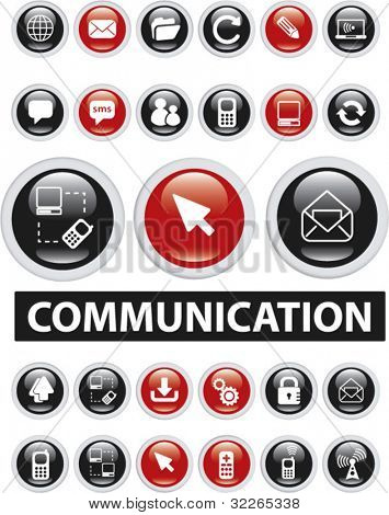 communication glossy buttons, icons, signs, vector illustrations