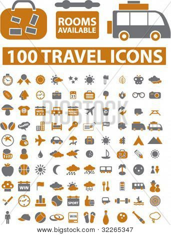 100 travel icons, signs, vector iilustration