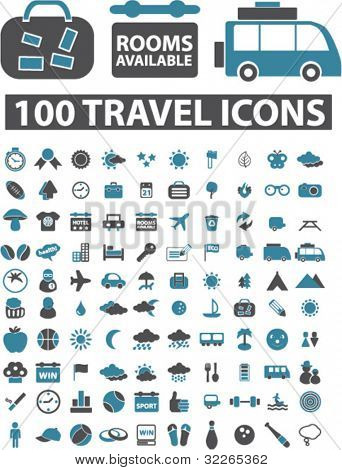 100 reizen pictogrammen, tekenen, vector illustraties set