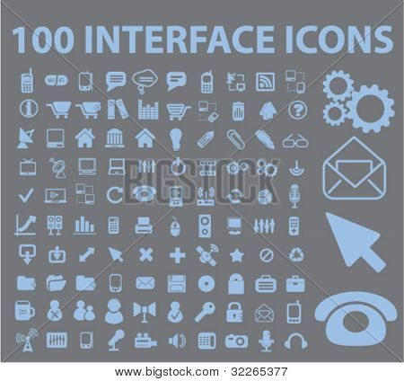 100 interface icons, signs, vector illustrations set