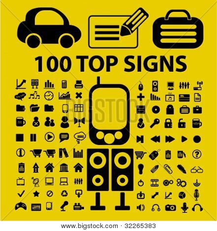 100 top office & media icons, signs, vector illustrations set