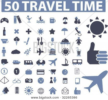 50 travel icons, signs, vector illustrations set