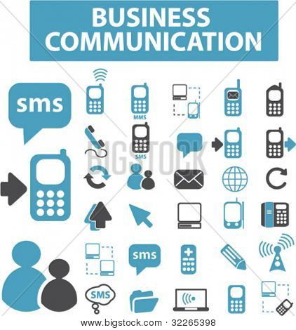 business communication icons, signs, vector illustrations set