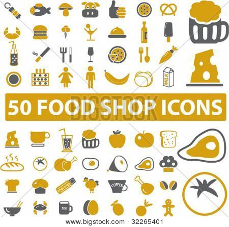 50 Lebensmittel Shop Symbole, Zeichen, vector Illustrationen set