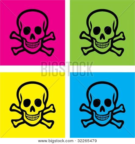 colorful skull icons, signs, vector illustrations