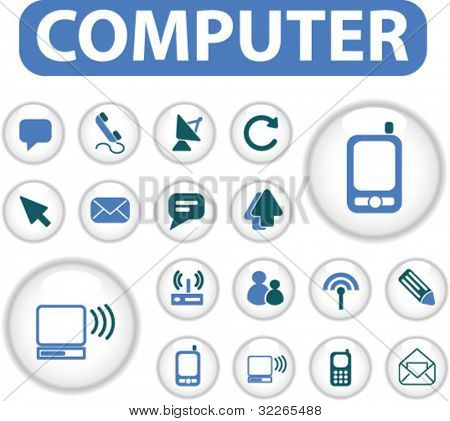 computer buttons, icons, signs, vector