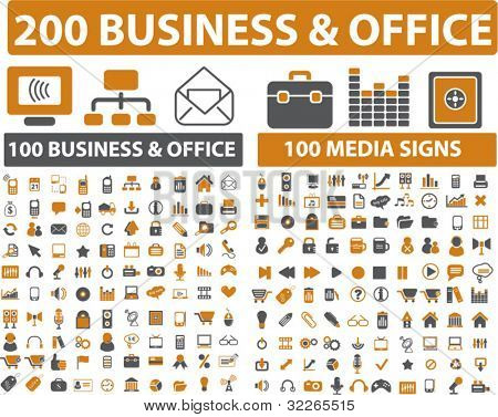 200 business & office icons, signs, vector