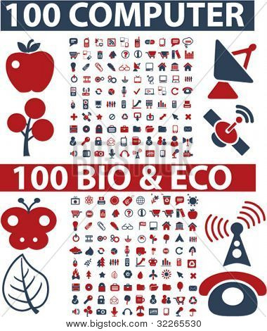 200 computer web bio icons, signs, vector illustrations