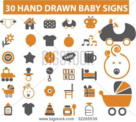 30 baby icons, signs set in hand drawn style, vector