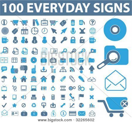 100 web icons, signs, vector